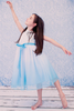 Aqua Ombre Dyed Tulle Dress with Ribbon Bodice Girls (322)