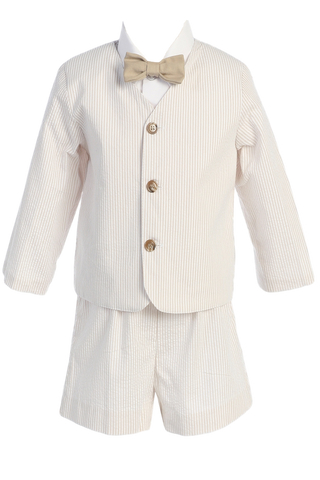 Khaki Tan Seersucker Eton Jacket & Shorts Spring Outfit Little Boys (G819)