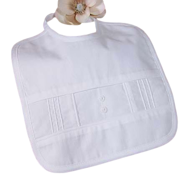 Boys White Cotton Broadcloth Pintucked Bib w. Buttons 1CBB2XB