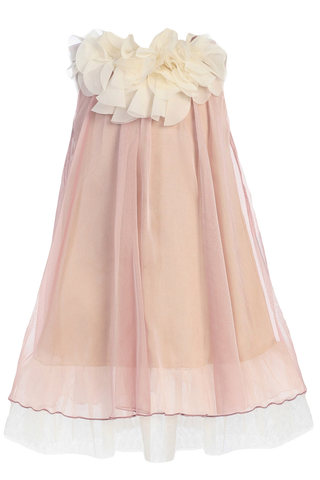 Girls Coral Chiffon Shift Dress w. Ivory Petal Trim KD284
