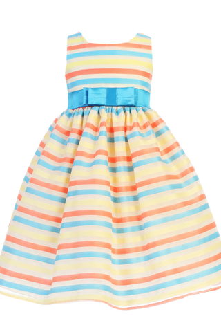 Multi-Color Striped Organza over Ivory Satin Girls Easter Spring Dress (M700)