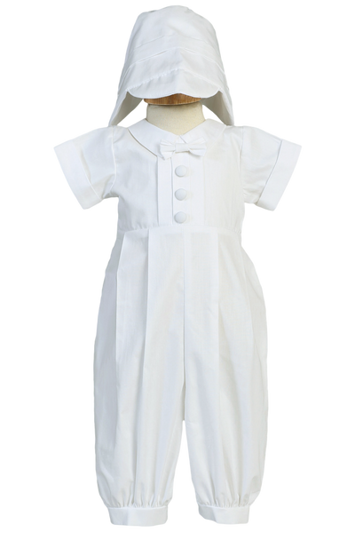 Cotton Christening Coverall w Pin Tucking & Hat Outfit (Garvin)