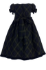BACK OF GREEN & BLUE PLAID DRESS (C814)