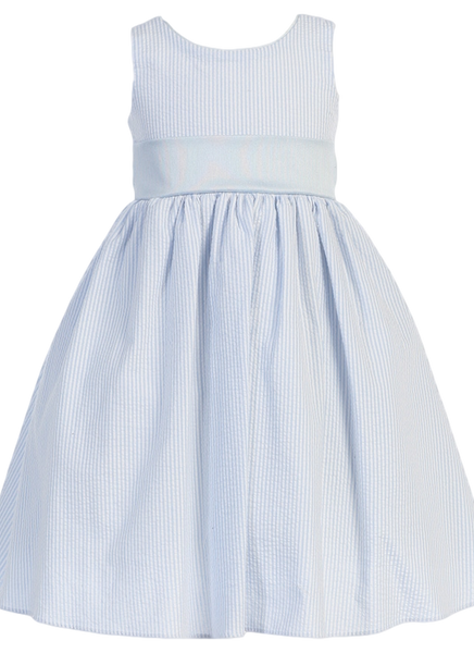 Light Blue Cotton Seersucker Girls Easter Spring Dress w PolySilk Sash (M642)