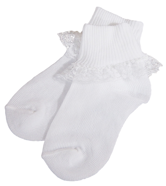 Lace Dress Socks White Quality Nylon Infant Girls (2106SK)