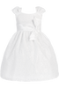 White Satin w Floral Tulle Lace Overlay Girls Easter Spring Dress (M678)