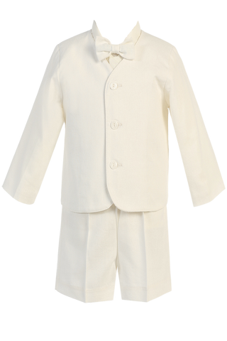 Ivory Linen Eton Jacket & Shorts Outfit 4 Pc Spring Suit Little Boys (G828)