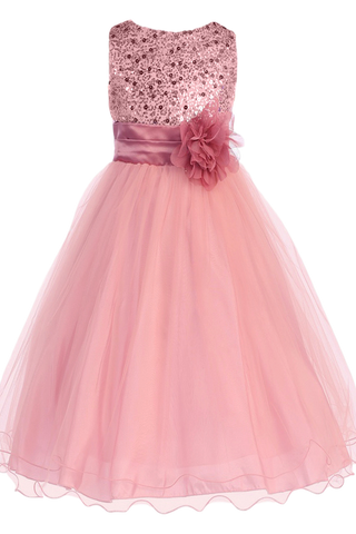 Girls Plus Size Rose Pink Sequin Party Dress w. Lettuce Tulle KD305