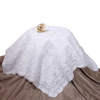 Infants White Acrylic Knit Shawl Blanket w. Open Weave Detailing ASHAWL