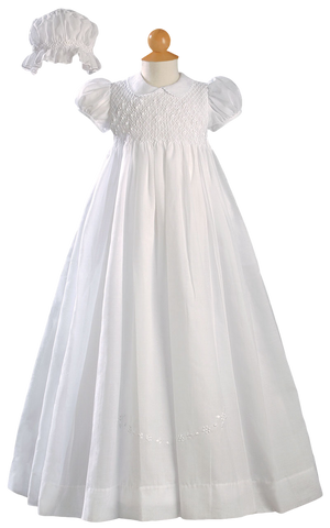 Smocked & Embroidered Handmade Cotton Christening Gown CO06GS