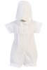 Boys Pin Tucked Cotton Baptism Romper w. Button Trimmed Hat  Liam