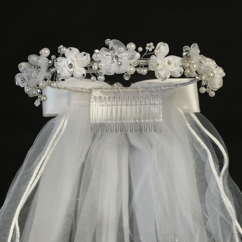 Satin & Organza Flowers Headpiece w White Veil First Holy Communion (T455)