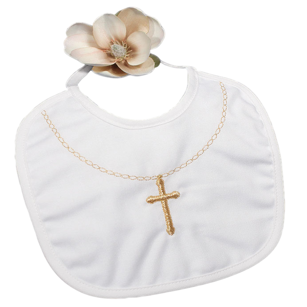 Cross Necklace Embroidery Small Handmade Cotton Bib (1XMFXB)