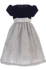 Silver Corded Tulle Girls Holiday Dress with Black Velvet Bodice 3M-10 (997)