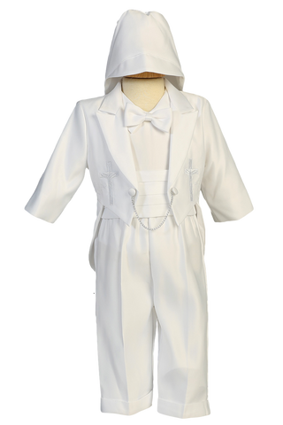Cross & Dove Embroidery Tuxedo Satin Christening Outfit (8800)
