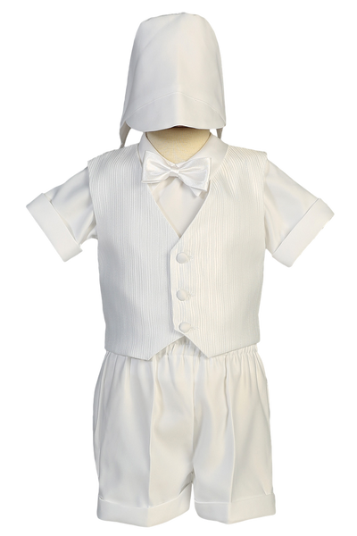 Vest & Shorts White Matte Satin 4 Pc Christening Outfit (8460)