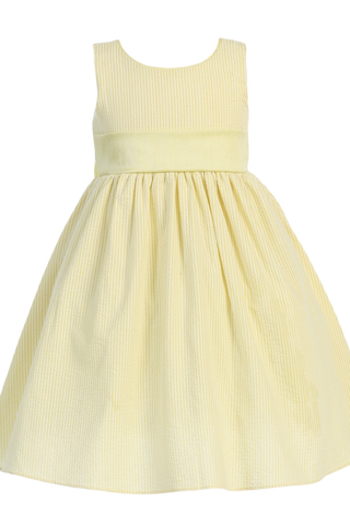 Yellow Cotton Seersucker Girls Easter Spring Dress w PolySilk Sash (M642)