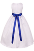Blue Dimensional Flowers on White Shantung Girls Dress (204-F)