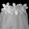 Comb Veil with 3 Pearl Centered Satin Flowers & a Short, White Tulle Veil  First Holy Communion (One Size Girls)