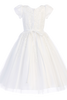 White Tulle First Holy Communion Dress w. Beading Appliques  SP977
