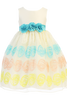 Girls Ivory Organza Dress w. Floral Embroidery & Teal Flowers M704