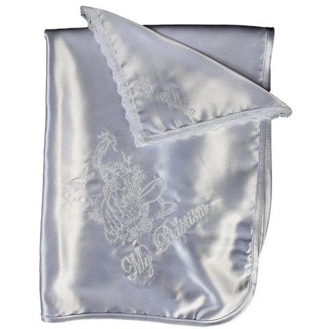 Hand of God & Baby Embroidery Satin Christening Blanket (B-301)