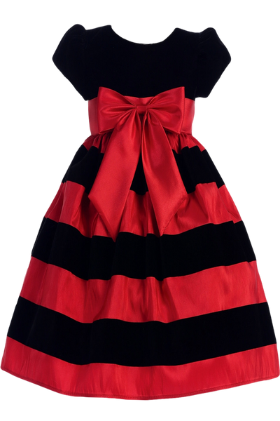 Black Velvet & Red Taffeta Striped Girls Holiday Dress  C925