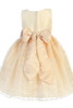Champagne Shantung & Embroidered Organza Girls Easter Spring Dress (M702)