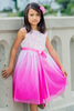 Fuchsia Ombre Dyed Tulle Dress with Ribbon Bodice Girls (322)