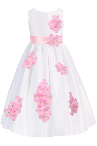 Pink Dimensional Flowers on White Shantung Girls Dress (204-F)