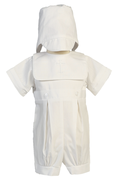 Romper w Cross Embroidered Bib Poly Cotton Christening (Zachary)
