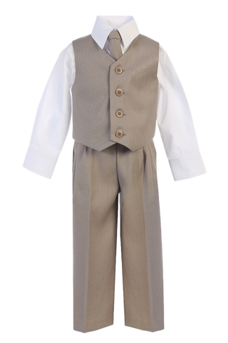 Khaki Tan Vest & Pleated Pants Suit 4 Pc Boys Occasion Outfit (8570)