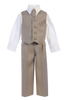 Boys Khaki Tan 4-pc Vest & Trousers Dresswear Set  8570