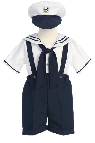 Navy Blue Nautical Suspender Shorts 4 Pc Spring Outfit Baby Boys (G830)