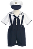 Navy Blue & White Boys Sailor Suspender Shorts Set w. Hat G830
