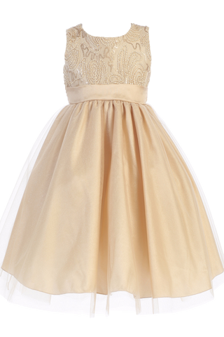 Gold Tulle Overlay Girls Holiday Dress with Sleeveless Corded Bodice 3M-10 (C505)