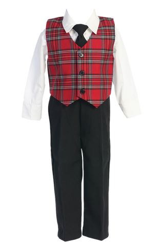 Red & Green Plaid Vest & Black Pants 4pc Boys Christmas Holiday Outfit 6M-7 (C565)