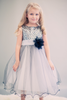 Silver & Black Sequined Girls Party Dress with Layered Lettuce Hem Tulle  KD327