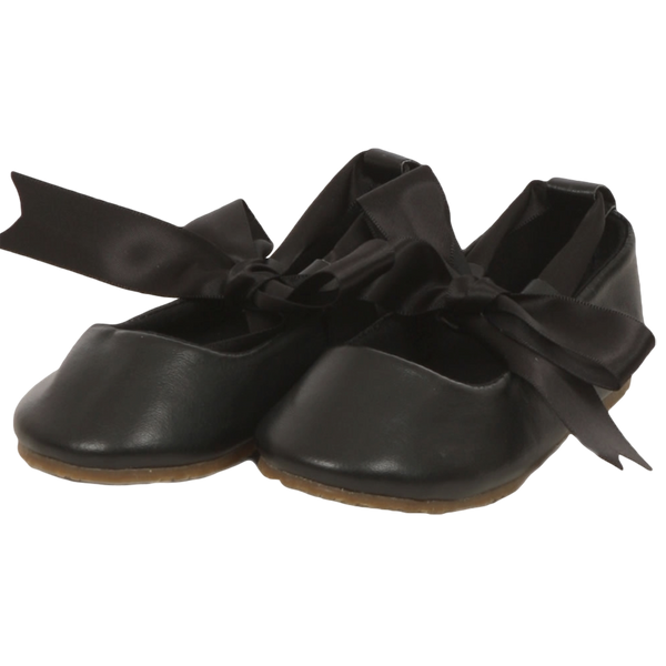 Black Ballet Flats Girls Dress Shoes with Ribbon Tie (BS004)