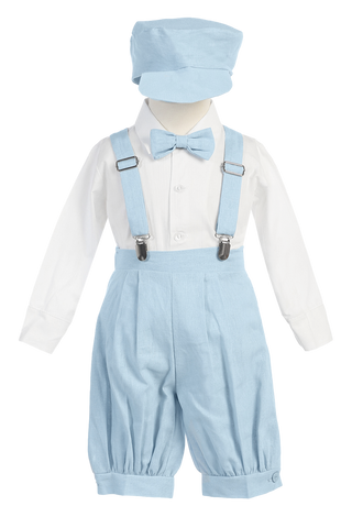 Light Blue Linen Suspender Knickers 5 Pc Spring Outfit Baby Boys (G827)