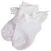 Lace, Satin & Pearls White Nylon Dress Socks Baby Girls (WGSOCK)