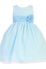 Blue Shantung w Burnout Cotton Overlay Spring Easter Dress Girls (M683)