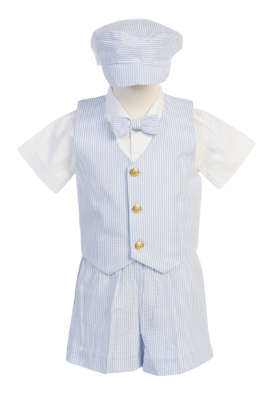 Light Blue Seersucker Vest & Shorts Spring Outfit Baby & Toddler Boys (G820)
