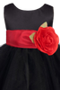 Black Tulle & Poly Silk Blossom Flower Girls Dress w Red Sash (BL228)