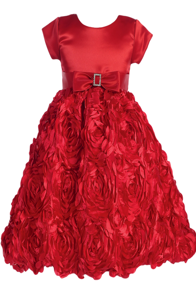 Red Floral Ribbon Girls Dress w. Cap Sleeve Satin Bodice  C936