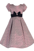Pink Bow Design Jacquard Girls Pleated Holiday Dress w. Velvet Trim  C990