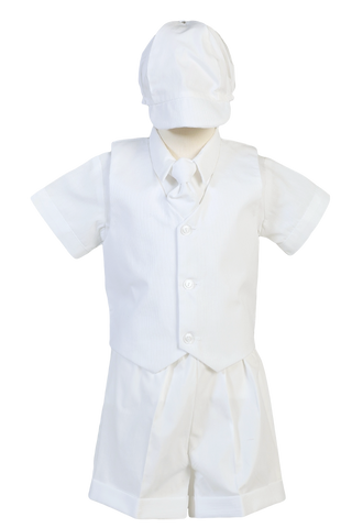 Baby Boys 5pc Shorts & Mini Cord Vest Baptism Set Newborn-4T  Peter