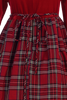 Red Velvet & Plaid Girls Long Sleeve Christmas Holiday Dress (C503)