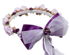 Purple Silk Floral Crown Wreath w Satin Back Bows Girls (HB007)