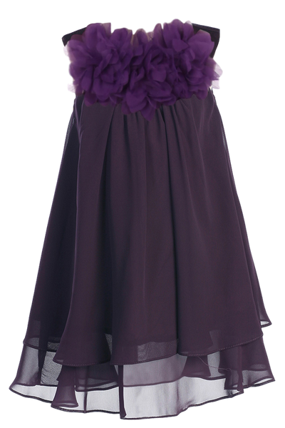 Eggplant Purple Chiffon Shift Dress w 2 Tier Hem Girls (255F)